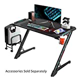 EUREKA ERGONOMIC Z1S PRO Gaming Computer Desk RGB LED Lights 44.5 inch Z Shaped Home Office PC Gaming Desks Table with Cup Holder Headset Hook & Mouse Pad for Men Boys Gamer Gift