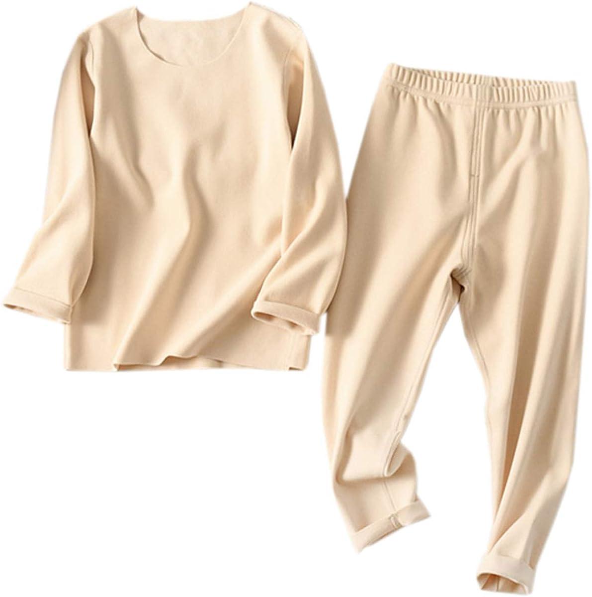 Kids Pajamas Set, Soft Thermal Striped Long Sleeve Pullover T-Shirt Tops + Matching Pants Sleepwear Loungewear Pajamas Set for Boys Girls, Solid Beige, 5-6X = Tag 140