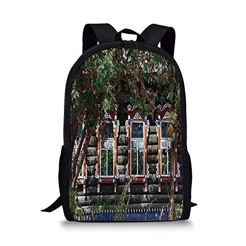 AOOEDM Backpack Shutters Stilvolle Schultasche, Holzhaus mit Fensterladen am Fenster Zaun Blumenbäume blüht Traumkunst für Jungen, 11 '' L x 5 '' B x 17 '' H.
