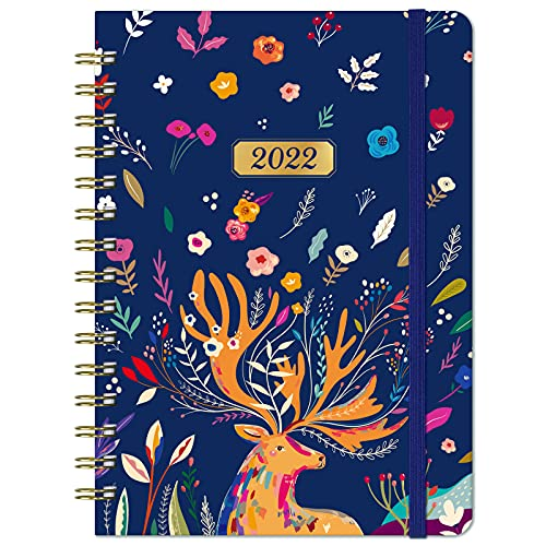 2022 Diary – A5 Diary 2022 Week to View, Jan 2022 – Dec 2022, Weekly & Monthly Diary, Month Tabs, Inner Pocket, Thick Paper, Elastic Closure