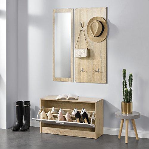 [en.casa] Conjunto de Muebles para Pasillo, vestíbulo - Zapatero Espejo Perchero de Pared Color de Madera/Blanco