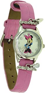 Disney #MCK648 Minnie Mouse Pink Leather Strap Analog Watch with Hanging Jeweles