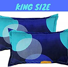 """BSB HOME Cotton 2 Piece Cotton King Size Pillow Cover Set - 20""""x30"""", Blue & Yellow"""