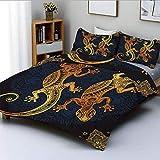 Conjunto de funda nórdica, figuras artísticas de lagarto gecko Marco Boho Estilo de tatuaje de henna tropical Conjunto de ropa de cama decorativa de 3 piezas con 2 fundas de almohada, azul oscuro dora