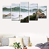 MQXUUYT 5 Panel Leinwand Gemälde Berge Nebel Chinesische