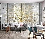 Fotomurales Poster,Mural grande personalizado 3D Árbol genealógico Lámina de oro Fortune Tree Parquet de mármol Decoración de la pared painting-250 * 175cm