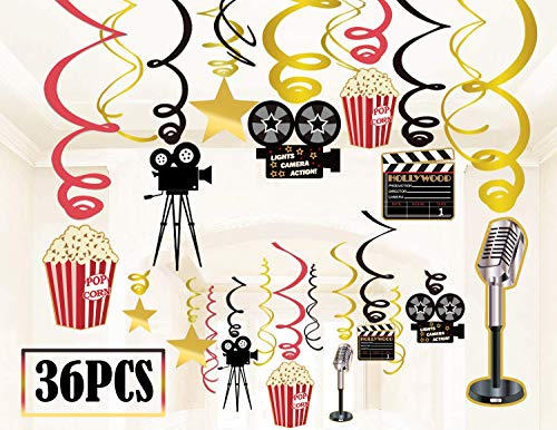 36Ct Movie Night Party Decorations Hanging Swirls - Hollywood Movie Theater Themed Bridal Shower/Birthday Party Supplies Film Backdrop