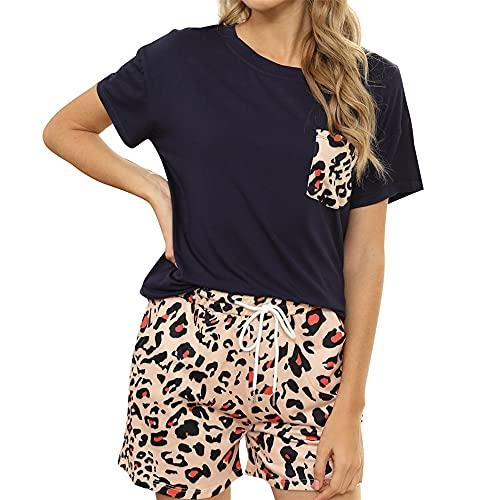 PRJN Summer Tie-Dye Printed Pijamas de Mujer Pijamas de 2 Piezas Pijamas Conjunto de Pijamas Conjunto de Manga Corta para Mujer Conjunto de Pijamas Informales con Estampado Tie Dye Conjunto Pijamas