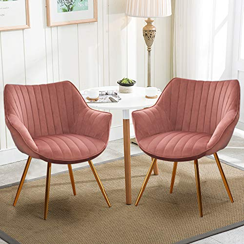 Warmiehomy Dining Chairs Living Room Chairs Kitchen Counter Chair Lounge Leisure Chairs Armchair Soft Velvet Seat and Back Sturdy Metal Legs Set of 2, Pink