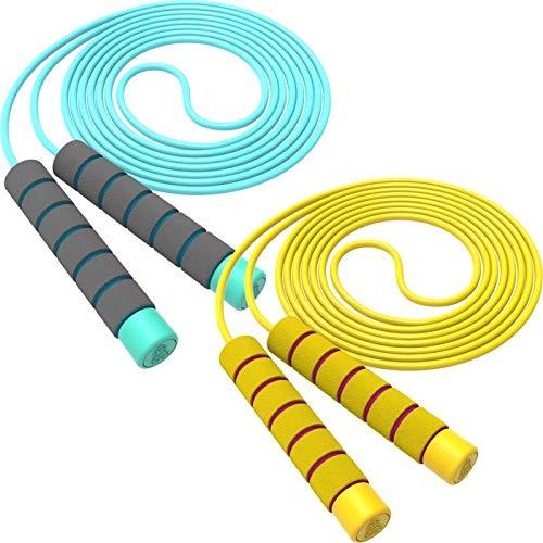 Svkiyang Springseil Kinder Verstellbare,seilspringen Sport 2 Stück 240CM,3-12 Jahre alt für Jungen und Mädchen ideal für Fitness Training/Spiel/Fett Brennen Übung (Blau-Gelb)