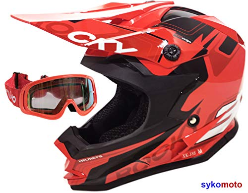 VIPER 3GO Casco todoterreno Rocky XK188 MTB MX ENDURO ATV QUAD Bike, montana, montana, casco de moto para niños y gafas rojas (S 47-48 cm)