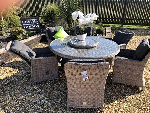 chelsea home and leisure ltd Rattan Garden Furniture Round Table dining Set Alfresco