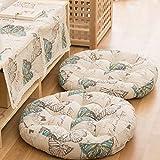 NOVWANG Cotton & Linen Round Floor Pillow Cushion Japanese Style Futon Seat Cushion Thicken Chair Wave Window Pad 21' x 21',Set of 2