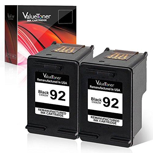 Valuetoner Remanufactured Ink Cartridge Replacement for 92 C9512FN C9362WN (2 Black) Compatible with Deskjet 5440 Photo, PSC 1510 1510xi 1507, Photosmart 7850 C3135 Printer