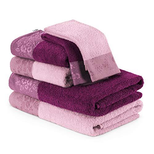 AmeliaHome Handtuch Set 6 Handtücher Duschtücher 100% Baumwolle Bordüre 70x140 50x90 30x50 cm rosa Beere 500 g/m² Crea
