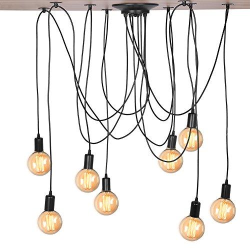 Cocoarm Spinne Kronleuchter DIY Decke Retro Spider Lampe Industry Ceiling Light DYI Vintage Pendelleuchte Hängelampe Deckenbeleuchtung Speisesaal Schlafzimmer Hotel Dekoration (8 Kopf)