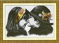 クロスステッチ 大人のためのクロスステッチキット 子供にキスする 40x50cm 11CT番号別刺繍キット手作りキットパンチ針刺繍DIY初心者向け手作りスターターキット