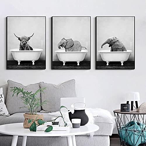 Yegnalo Bebé Animales en la bañera Cartel Elefante león Panda Jirafa Cerdo Vaca Lienzo Pintura Mural de jardín de Infantes Imagen nórdica decoración de la habitación de los niños