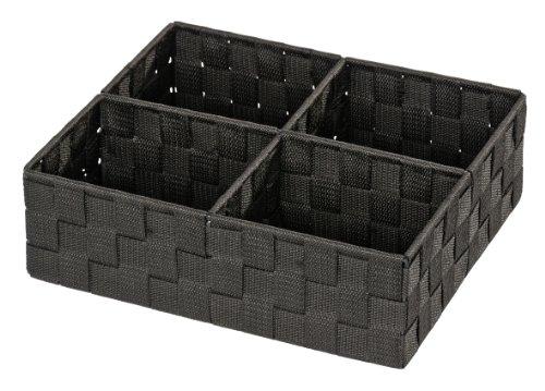 WENKO 20984100 Organizer Adria Quadro Schwarz - 4 Fächer, 100 % Polypropylen, 32 x 10 x 27 cm, Schwarz