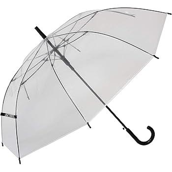 大きい 透明ジャンプ傘 (2本組) [ブラック] 65cm×8本骨 耐風グラスファイバー骨 ビニール傘 まとめ買い【LIEBEN-0631】