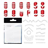 VAGA 347pcs Nail Decals French Manicure Strips Professional Nail Art Stencils White Guides Stickers/Nail Polish Strips French Tips In 13 Different Shapes For Nails Designs And Patterns Application