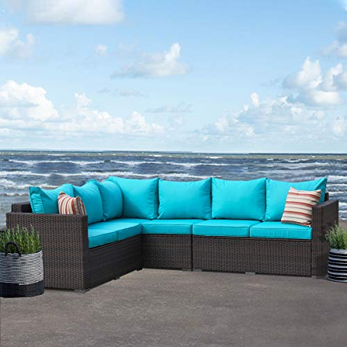 Patio Furniture Garden 5 PCS Sectional Sofa Brown Wicker Conversation Set Outdoor Indoor Use Couch Set Turquoise Cushion