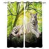 LWXBJX Vorhang blickdicht für Schlafzimmer Wohnzimmer - Dschungel Pflanzen Bäume Tiger - 3D...