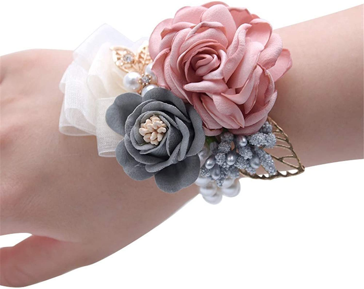Stylish Charming Bracelet Exquisite Ornaments Flower Wrist Corsage Bracelet Silvery Bling Ribbon Rhinestone Stretch Bracelet Wedding Prom Wrist Corsage Hand Flower for Women Ladies Girls Prom Party
