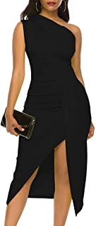 Nature Comfy LilyIn Womens Sleeveless one Shoulder Ruched High Slit Elegant Evening Cocktail Party Dresses