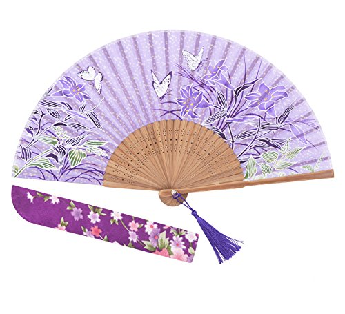 Amajiji 8.27' Chinease/Japanese Hand Held Silk Folding Fan with Bamboo Frame,Hollow Carve Patterns Bamboo Frame Women Hand Folding Fans Hand Fan Gift Fan Craft Fan Folding Fan Dance Fan (HBSY-25)