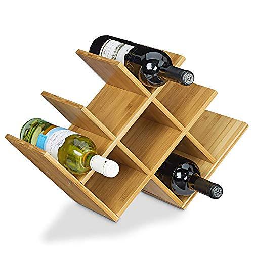 Iozean Soporte De Vino De Madera-Estante para Botellas de Vino – Botelleros Vino u Otras Bebidas – Vinoteca de Madera para 8...