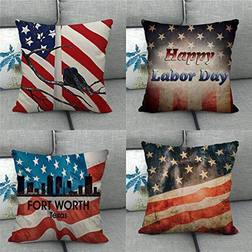 QXbecky Fundas de Cojines Bandera Americana Retro Declaración de Independencia Funda de Almohada Cuadrada de Lino 4 Piezas (sin núcleo) Funda de Almohada de Microfibra para decoración de sofá