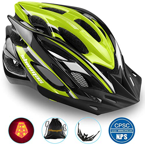 Shinmax Cycle Helmet with LED Light,CE Certified,Specialized Cycle Bike Helmet with Safety Light Super Light Integrally Bike Helmet Adult Bike Helmet with Detachable Visor and Liner Ski & Snowboard