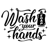 Wash Your Hands Bathroom Wall Sticker Sink Vinyl Waterproof Decal Door Room Transfer Sticky Mural Decoration Sign Removable Tile Kitchen Decor Shower Artwork Stencil Mirror Wallpaper Adhesive Quote