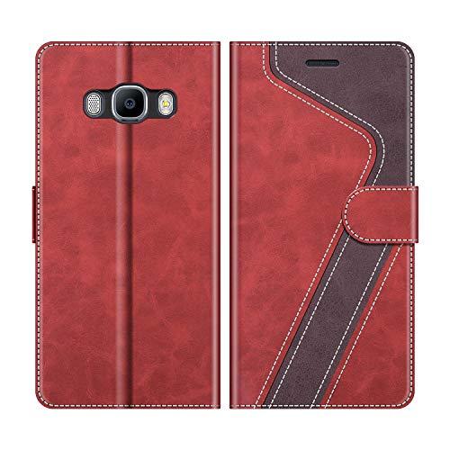 MOBESV Handyhülle für Samsung Galaxy J7 2016 Hülle Leder, Samsung Galaxy J7 2016 Klapphülle Handytasche Case für Samsung Galaxy J7 2016 Handy Hüllen, Modisch Rot