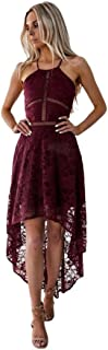 Womens Sleeveless Dress Prom Party Bridesmaid Ball Halter Cocktail High Low Gown Zulmaliu