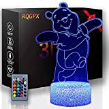 3D LED Night Light Winnie The Pooh 3D Illusion Lamp Decor Lamp with Remote Control, Birthday Gifts for Girls, Unicorn Gift for Girls Birthday Gift