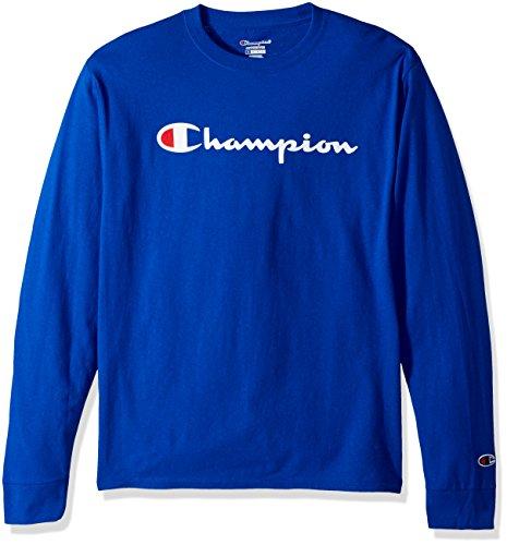 Champion LIFE Men's Cotton Long Sleeve Tee, Surf The Web/Patriotic Script, Small
