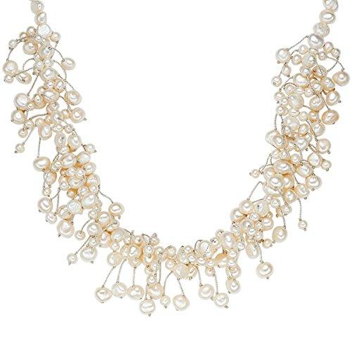 Valero Pearls Damen-Kette Hochwertige Süßwasser-Zuchtperlen in ca. 4-6 mm Barock weiß 925 Sterling Silber 42 cm + 5 cm Verlängerung - Perlenkette Halskette mit echten Perlen 120310