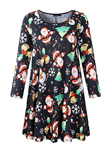 Veranee Women's Plus Size Swing Tunic Top 3/4 Sleeve Floral Flare T-Shirt XXX-Large 16-31
