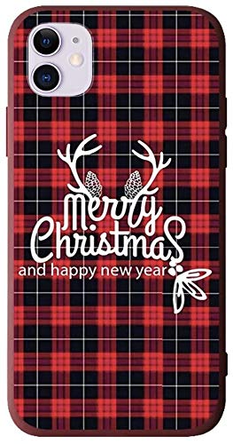 """BLLQ iPhone 11 Case Christmas Design, Soft Silicone Slim Thin Fit Xmas Gift Case for iPhone11 6.1"""",iPhone 11 case 6.1 inch Red-Black"""