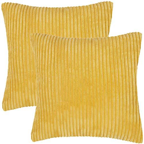 PiccoCasa 2 Stück Kissenhülle Weich, Kordsamt Kissenbezüge Dekorative für Couch Stuhl Sofa Schlafzimmer, Einfarbig Kissenbezug Gelb 50 x 50 cm