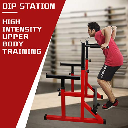 ER KANG Multi-Function Barbell Rack, 600LBS Capacity Fitness Adjustable Dip Stand Squat Rack for Weight Lifting, Bench Press, Squat, Dipping Station Home Gym