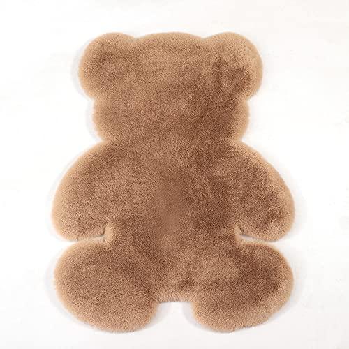 HEPAI Oso Alfombra súper Suave Alfombra de Seda Interior Moderno Sala de Estar Dormitorio Alfombra Antideslizante Blanco marrón niño Felpudo (Brown,75x105cm)