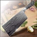 Macheta Cuchillo de cocina de 7 pulgadas 7Cr17 inoxidable 440C Utilidad de acero Cuchilla del cuchillo del cocinero de Damasco Dibujo Carne Santoku Cocinar sistema de herramienta Cocina