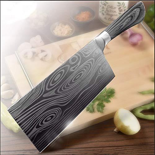 Chino Cuchillo de cocina de 7 pulgadas 7Cr17 inoxidable 440C Utilidad de acero Cuchilla del cuchillo del cocinero de Damasco Dibujo Carne Santoku Cocinar sistema de herramienta cocina