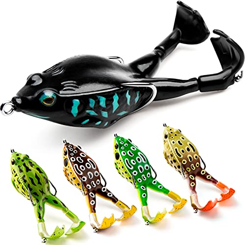 Topwater Frog Lure Bass Trout Fishing Lures Kit Set Realistic Prop Frog Soft Swimbait Floating Bait...