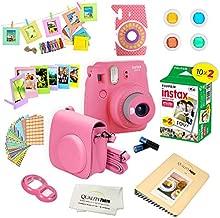 Fujifilm Instax Mini 9 Instant Camera w/Fujifilm Instax Mini 9 Instant Films (20 Pack) + A14 Pc Deluxe Bundle for Fujifilm Instax Mini 9 Camera (Flamingo pink)