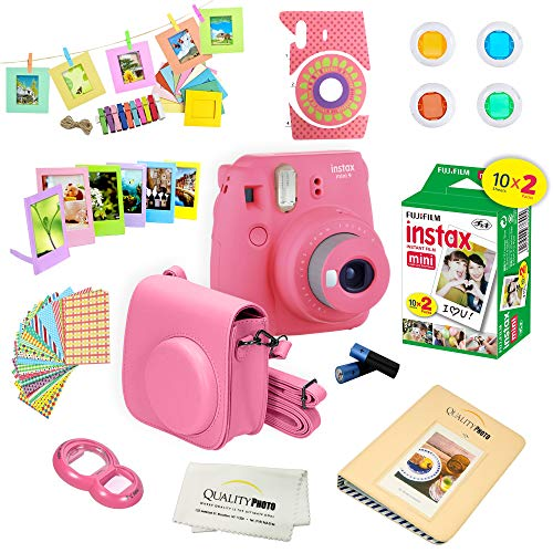 Fujifilm Instax Mini 9 Instant Camera w/Fujifilm Instax Mini 9 Instant Films (20 Pack) + A14 Pc Deluxe Bundle for Fujifilm Instax Mini 9 Camera (Flamingo pink)