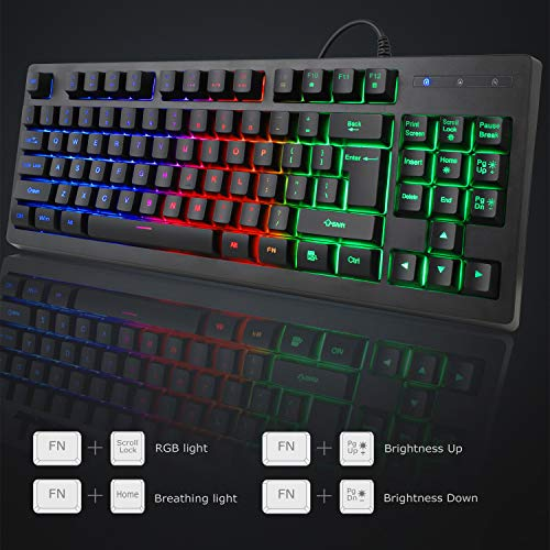 RGB 87 Keys Gaming Keyboard and Backlit Mouse Combo,BlueFinger USB Wired Rainbow Keyboard,Gaming Keyboard Set for Laptop PC Computer Game and Work